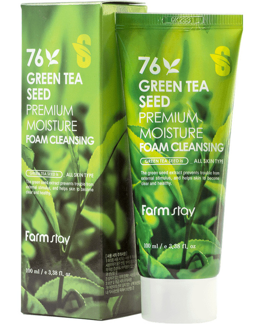 FarmStay Green Tea Seed Premium Moisture Foam Cleansing, 100ml