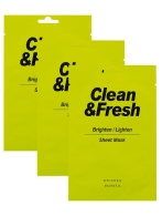 EUNYUL Clean&Fresh Brighten/Lighten Sheet Mask, 22ml, 3pcs